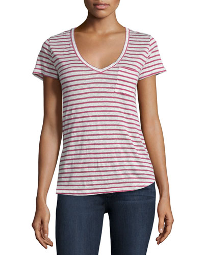 Lynnea V-Neck Striped Tee, Red/White Stripe