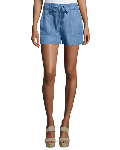 Mireille Tie-Front Denim Shorts