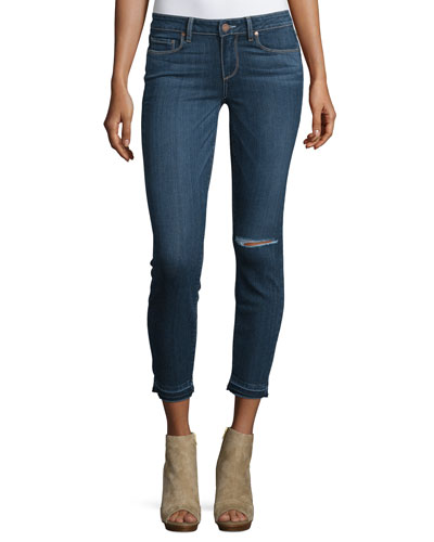 Verdugo Distressed Cropped Jeans, Blue