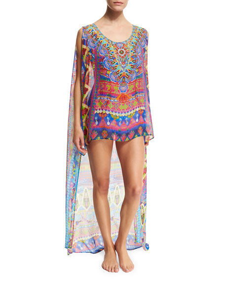 Printed Sheer Chiffon Coverup Top