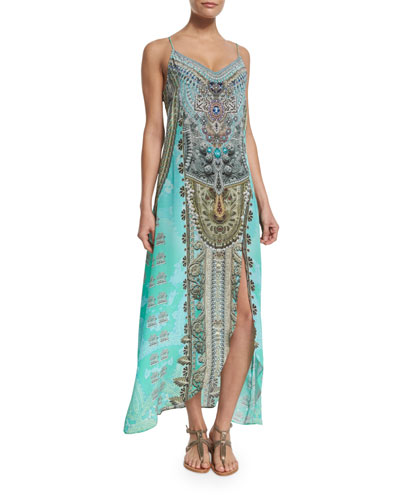 Embellished Low-Back Long Coverup Dress