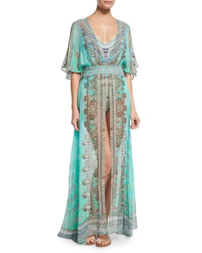 V-Neck Printed Silk Long Coverup Dress, Traje de Luce