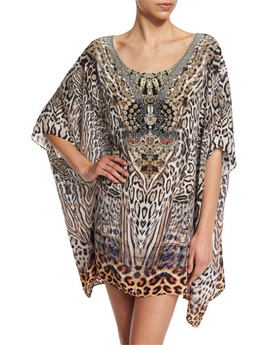 Printed Embellished Short Caftan Coverup, The Mighty