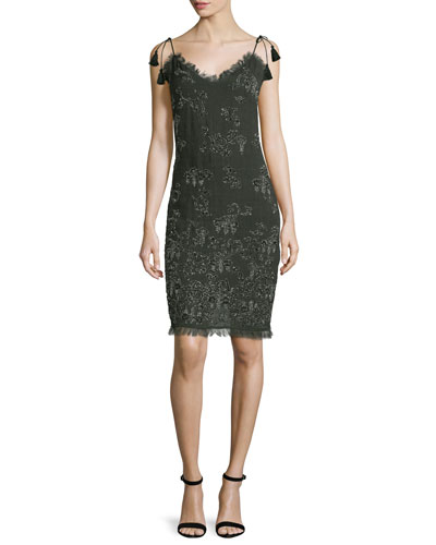 Remsen Metallic-Embroidered Dress, Camouflage