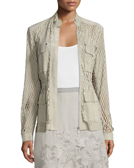 Elie Tahari Katya Perforated-Suede Safari Jacket, Sand