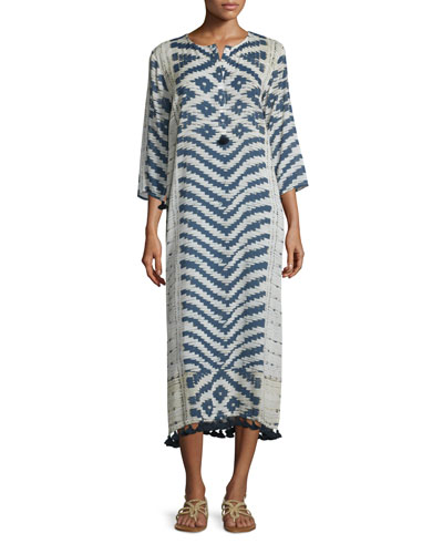Loreley Kaftan W/Fringe, Ivory/Navy Basketweave