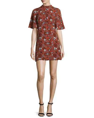 Spencer Short-Sleeve Floral Silk Mini Dress, Henna/Black/White