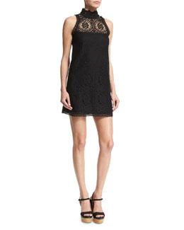 Sleeveless Crochet Mock-Neck Dress, Black