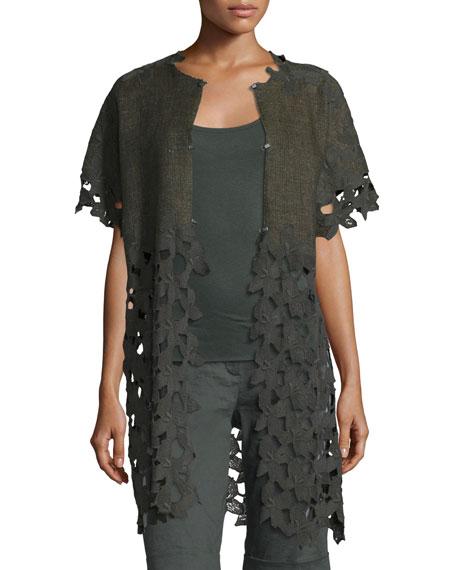 Gregoria Floral-Cutout Linen Coat