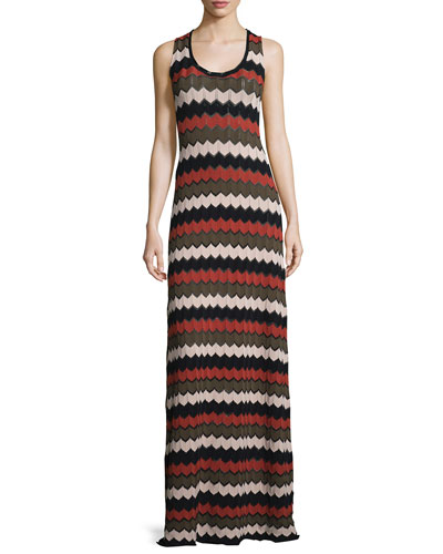 Miles Sleeveless Zigzag Maxi Dress, Army/Primrose/Black