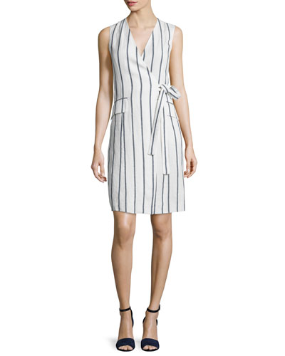 Livwilth Wide-Stripe Linen Wrap-Style Dress, White/Blue