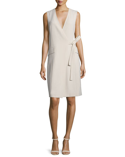 Livwilth Admiral Surplice-Neck Crepe Dress