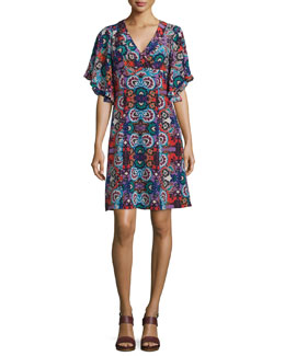 Flutter-Sleeve Floral-Print Silk Dress, Red/Multi