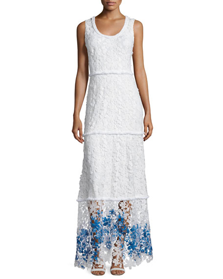 17fe38454b8c Elie Tahari Adelaide Sleeveless Floral-Lace Maxi Dress, Multi Colors