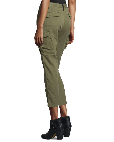 High-Waist Cropped Cargo Pants, Army