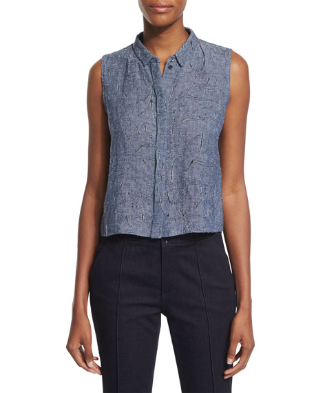 Bardot Sleeveless Linen-Blend Etched Denim Blouse