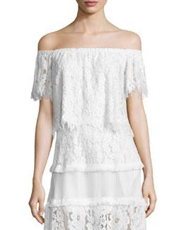 Fernanda Off-the-Shoulder Lace Crop Top, White