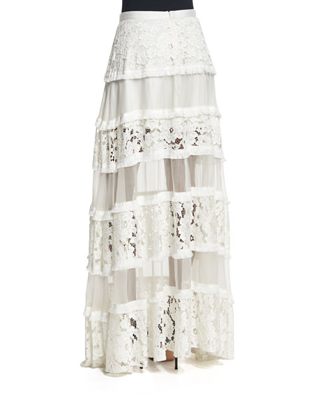 39dcc8ee Alexis Emil Tiered Lace Maxi Skirt, White