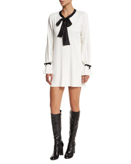 Long-Sleeve Contrast-Trim Shift Dress, Cream