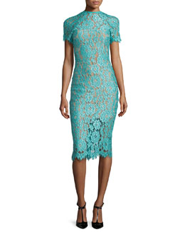 Leona Short-Sleeve Lace Sheath Dress, Turquoise