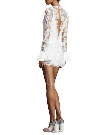 Yumi Long-Sleeve Lace Romper, White