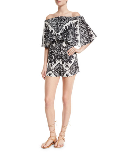 Alivia Off-the-Shoulder Multipattern Romper, Black/White