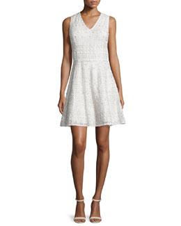 Reba Sleeveless Embroidered A-Line Dress, Cream