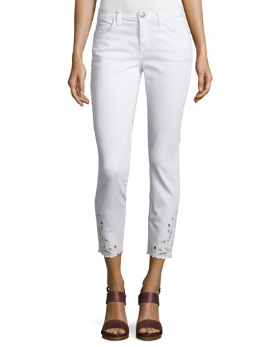 Stiletto Embroidered Cropped Jeans, Sugar