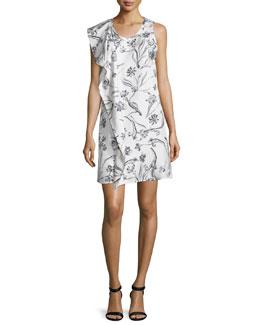 Sleeveless Draped Floral Silk Dress, Lilac/White