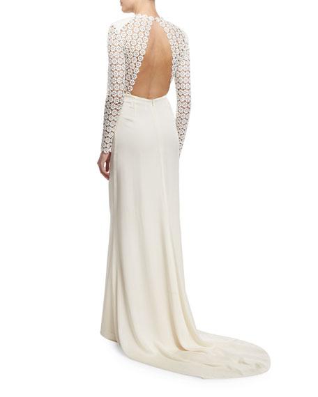 Eva Long-Sleeve Open-Back Combo Gown, Off White