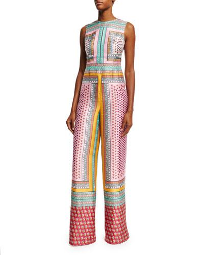 Jalessa Sleeveless Zen Scarf Wide-Leg Jumpsuit, Multicolor