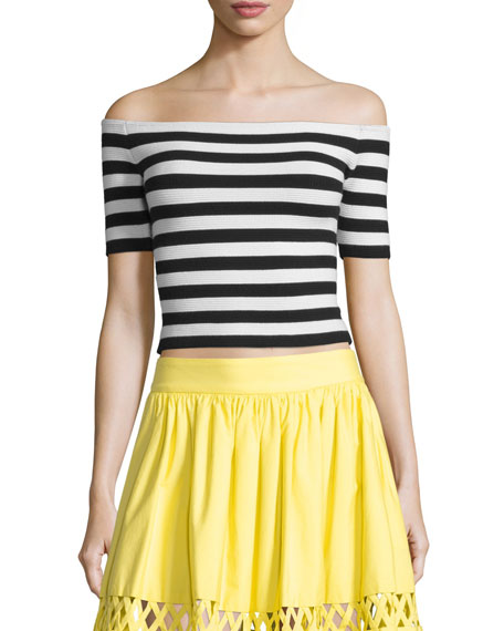 Grant Striped Off-the-Shoulder Cropped Top, Black/White