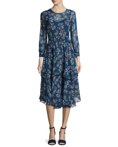 Mystic Silk Chiffon Dress, Navy