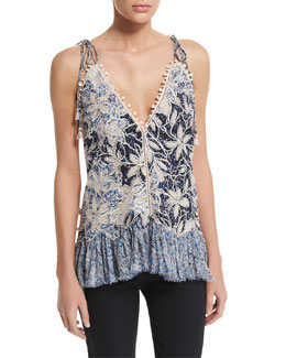 Sleeveless Floral-Embroidered Tank, Blue/Pink