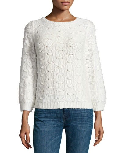 Long-Sleeve Popcorn Pullover Sweater, Chalk