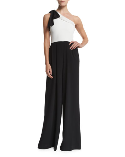 Debi Pleated One-Shoulder Combo Jumpsuit, Black/White