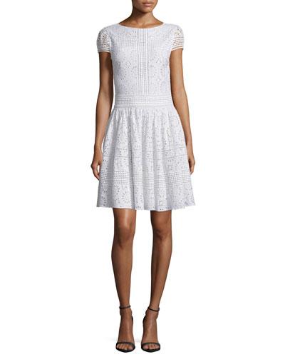 Imani Crochet Medallion Dress, White
