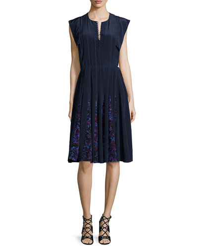 Cap-Sleeve Pleated Silk Rhapsody Dress, Blue/Black