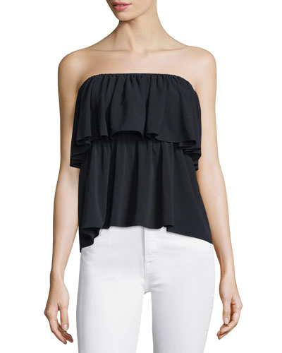 Nadine Strapless Silk-Blend Popover Top, Black