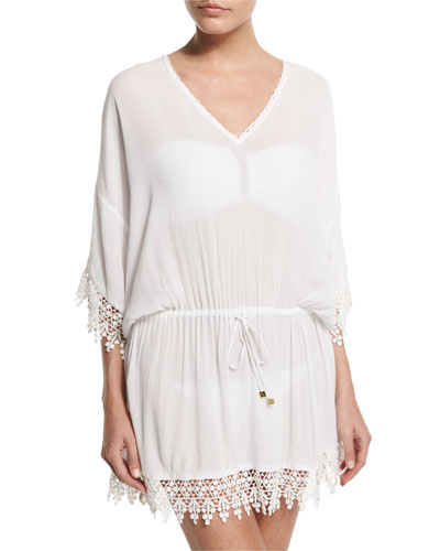Treville Embroidered-Trim Caftan Coverup