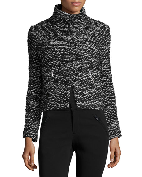 Cropped Tweed Jacket, Black/White