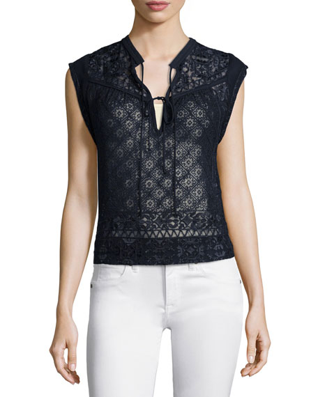 f45cb68889a Rebecca Taylor Sleeveless Embroidered Silk Top