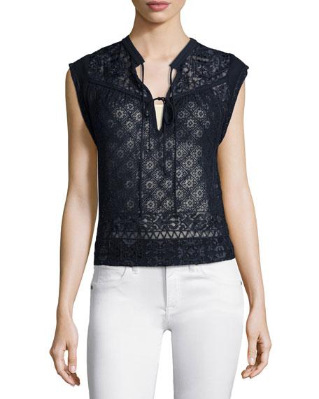 Sleeveless Embroidered Silk Top, Navy