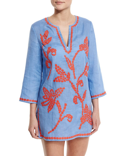 Talisay Embroidered Linen Coverup Tunic, Blue/Poppy