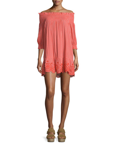 Myra Smocked Off-The-Shoulder Coverup Dress