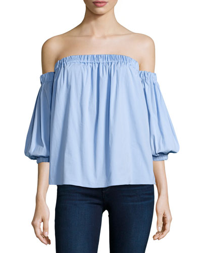Off-the-Shoulder Stretch-Cotton Blouse, Sky