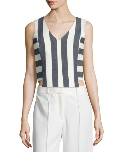 Graphic Stripe V-Neck Shell, Navy