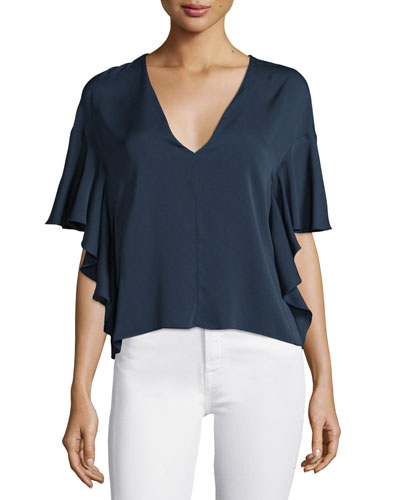 Cascade-Sleeve V-Neck Blouse, Navy