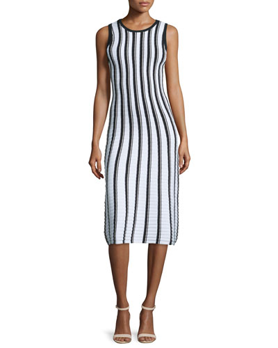 Pop Texture-Striped Midi Dress, Multi Colors