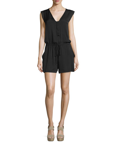 Sleeveless Drawstring-Waist Romper, Black